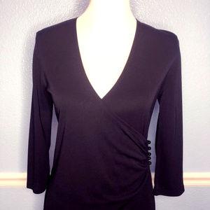 wrap dress midi long sleeve lbd sexy v neck XL 14